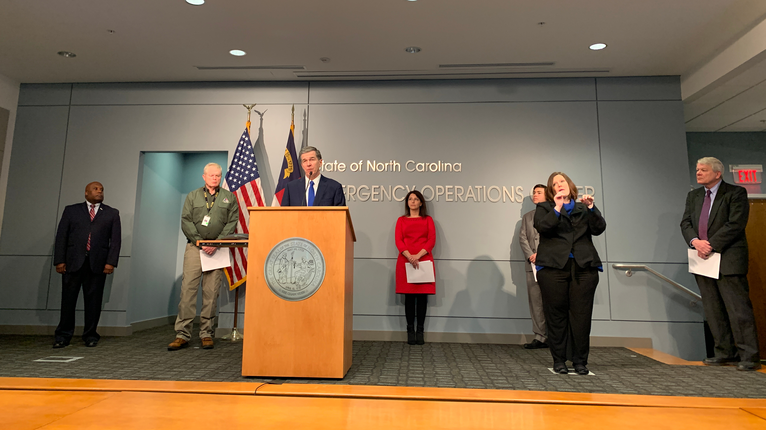 N.C. Governor Roy Cooper introduces Secretary of Health and Human Services Mandy Cohen at a COVID-19 press conference.